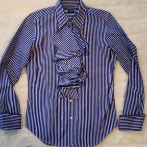 Ralph Lauren Ruffled Blue Striped Top